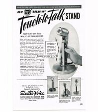 1949 Electro-Voice Touch-To-Talk Microphone Stand Ham Shortwave Radio Vtg Ad