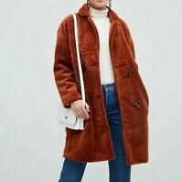 Jayley Teddy Faux Double Breasted Coat One Size RRP £185 ASOS