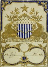 Dresden Fabric Label Embossed Gold Hippocampi (Half Horse Half Fish) F96