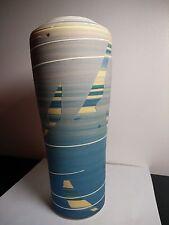 "Vintage ceramic vase by Janet Belden in southwestern pastels 9"" tall with resume"