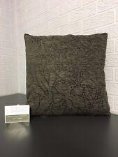 Handmade Chenille/ Slub Scatter Cushion in Dark Grey/ Brown with Floral Pattern