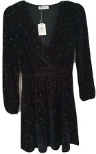 Oasis Black Velvet Dress Brand New With Tags Size Large RRP £50