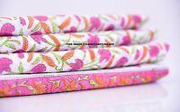 5 Yard Hand Block Print 100 % Cotton Indian Natural Floral Print Fabric White