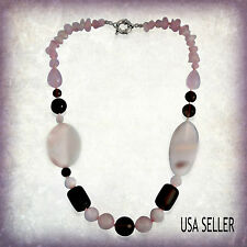 TGW 70.00 Cts.  Brazilian Rose Quartz Smoky Quartz Pink Lace Agate Necklace