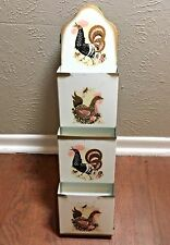 Vintage Metal Wall Hanging Letter Bill Mail Organizer Holder Chickens! Roosters!