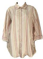 Lands' End Women's Blouse Plus 1X 3/4 Sleeve Cotton Striped Button Down Shirt