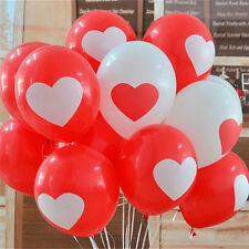 50 QUALITY RED WHITE HEART BALLOONS VALENTINES DAY ENGAGEMENT WEDDING
