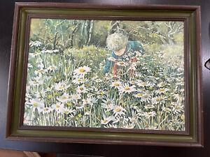 "Carolyn Blish Print ""A Sea Of Daisies"" Framed Vintage Color 14"" x 20"""