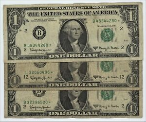 THREE *STAR NOTES* 1963 $1 CIRCULATED CURRENCY ~ 3 RANDOM ~ PLEASE READ STORY