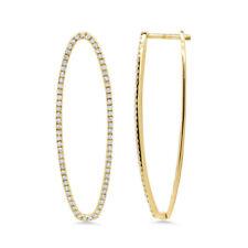 Split Oval Shape Hoop Drop Earring 0.40Ct 14K Yellow Gold Natural Round Diamond