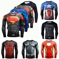 Superhero Tee T-shirt Long Sleeve Compression Sport 3D Print Men's Shirts