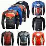 Marvel Superhero Tee T-shirt Long Sleeve Compression Sport 3D Print Men's Shirts