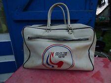sac de sport vintage Jeux de France 1972 logo coq  simili cuir blanc