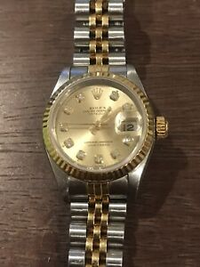 ROLEX Ladies Diamond Dial 26mm Datejust 18k Gold & Stainless Steel 69173