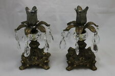 Vintage Set of 2 Ornate Brass Candle Stick Holders with Crystals / Glass Prisms