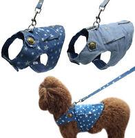 Cute Denim Dog Vest Harness and Leash set Pet Puppy Cat Jean Clothes S M L XL