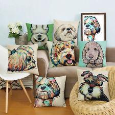 "18"" Cartoon Dog Printed Pillowcases Cotton Linen Cushion Cover Sofa Home Decor"
