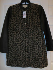 MICHAEL KORS FAUX LEATHER & FUR LEOPARD PRINT coat size 10   NWT $375.00