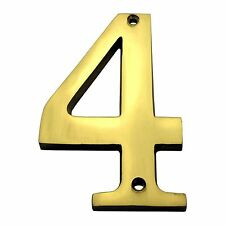 4 Inch Solid Brass #4 House Numbers Home Address Plaque Number Sign MP4-4-605