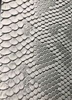 Vinyl Fabric Silver Faux Viper Snake Skin Leather Upholstery-3D Scales- 1 Yard.