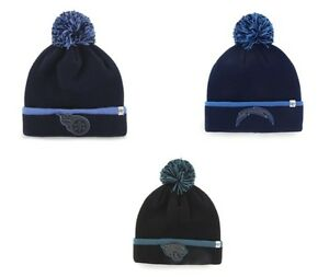 NFL 47 Brand Baraka Cuff Knit Hat with Pom One Size Fits Most Light Navy Blue