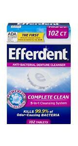 efferdent denture cleaner 5 in1 antibacterial dental cleanser stain 102 tablets
