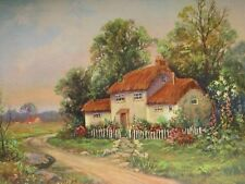 W M Thompson Art Thatched Roof Cottage w/ Flower Garden Vintage 1924 Lithograph