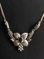 Collier argento 925 vintage decorazione floreale granato marcasite collana CO21