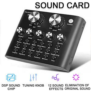 V8 Sound Card Audio Set External USB Headset Microphone Live Broadcast Device