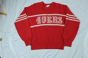 Vintage Cliff Engle San Francisco 49ers Red Sweater NFL Football Montana Rice