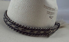 "7 strand large side tassel KING"" Horse hair Hat bands 1 inch wide  Black / Gray"