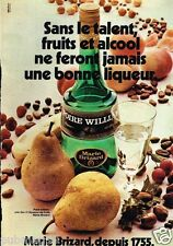 Publicité advertising 1977 Liqueur Poire Williams Marie Brizard