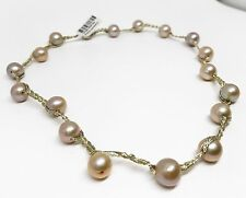 "10-11 mm Freshwater Pearl Potato Bead 17"" Handmade String Necklace, 18 Pearls"