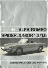 ALFA ROMEO SPIDER JUNIOR 1,3/1,6 manuale di istruzioni 1972 manuale BA