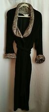 "DIAMOND TEA Soft Black Velour w/ Animal Print 56"" Long Robe Sz Large?"