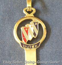 BUICK GOLD PLATED ENAMEL KEY BLANK & VINTAGE KEYCHAIN B46 1970 1974 1978 1982