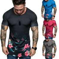 Men T-Shirt Slim Fit Casual Tops Summer Clothes Muscle Thin Gym Tee Blouse US