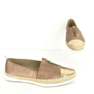 Anne Klein Women's Size 8M Zetta Metallic Bronze Gold Slip On Sneakers