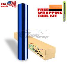 """*12""""x60"""" Blue Chrome Vinyl Car Wrap Sticker Decal Sheet Film Air Bubble Free"""