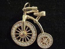 Swarovski Swan Signed Pendant Tricycle Bike Goldtone crystals Moving Wheel 235