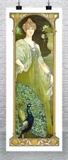 The Majestic Peacock Vintage Art Nouveau Poster Rolled Canvas Giclee 17x40 in.