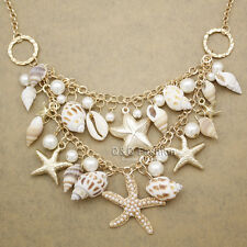 Beach Seashell Ocean Sea Life Starfish Pearl Gold Charms Statement Bib Necklace