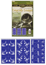 Set of 3 ~ Armour Rub n Etch Glass Etching Stencils ~ Dragonfly Designs