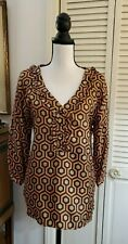 SKIRTIN AROUND 100% Silk Blouse ruffled Neckline Geometric print sz 6