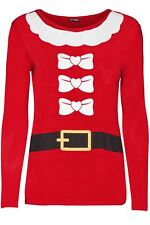 New Womens Christmas Xmas Ho Ho Ho Hat Snowflake Ladies Long Sleeve T Shirt Top