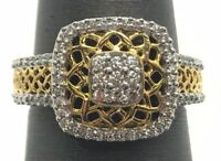 Sterling Silver Gold Tone CZ Cushion Cluster - Pave Webbed Elegant Cocktail Ring