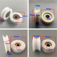 1~4x 4 Size U Groove Metal Shield Nylon Pulley Wheels Roller Rail Ball Bearings