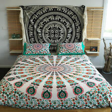 Indian Mandala Handmade Cotton Two Pillow Cover Bedding Queen Duvet Cover Ethnic
