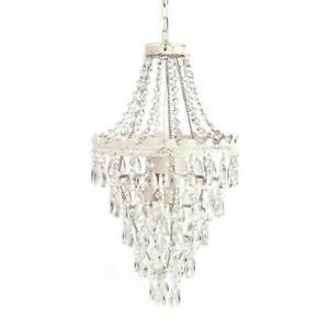 TADPOLES 1-Light Antique White Diamond Pendant Lamp Chandelier ~NEW Open Box