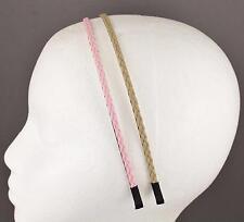 Pink Tan headband set 2 braid faux leather braided hair band skinny narrow